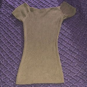 Olive green off shoulders sweater